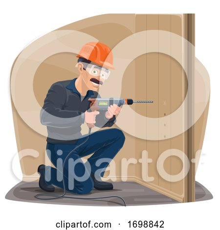 Carpenter Using a Power Drill Posters, Art Prints