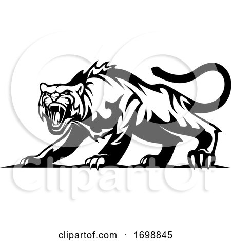 Black and White Angry Tiger by Vector Tradition SM