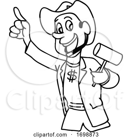 Cartoon Black and White Cowboy Auctioneer by LaffToon