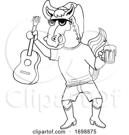 Cartoon Black and White Cowboy Horse Holding a Beer and Guitar by LaffToon