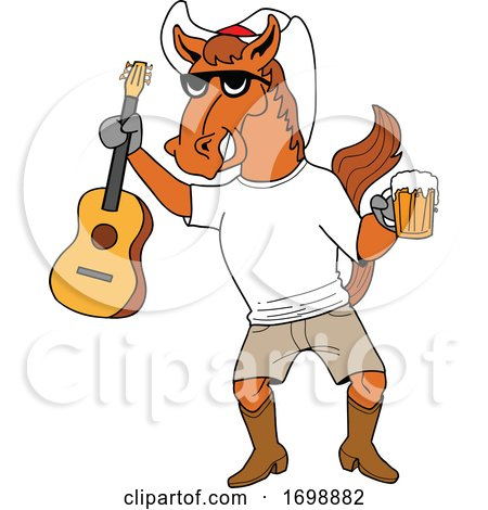 Cartoon Cowboy Horse Holding a Beer and Guitar by LaffToon
