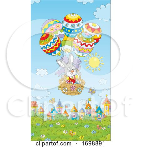 Bunny Rabbit in an Easter Egg Hot Air Balloon by Alex Bannykh