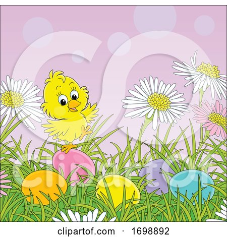 Chick and Easter Eggs in Grass Posters, Art Prints