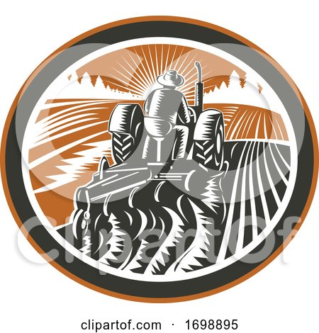Farmer Driving Tractor Plowing Field Retro by patrimonio