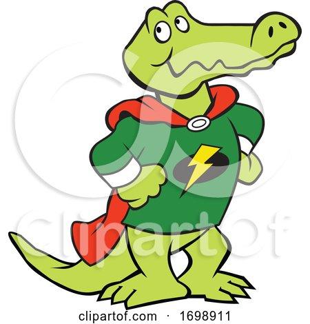 Cartoon Super Hero Alligator Mascot by Johnny Sajem