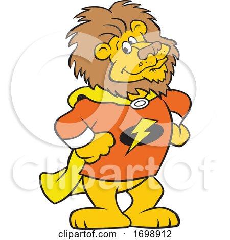Cartoon Lion Super Hero Mascot by Johnny Sajem