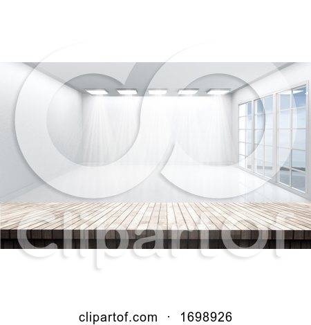 3D Wooden Table Looking out to a White Empty Room by KJ Pargeter