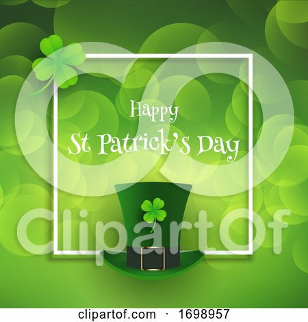 St Patricks Day Background with Top Hat and Shamrock 2001 by KJ Pargeter