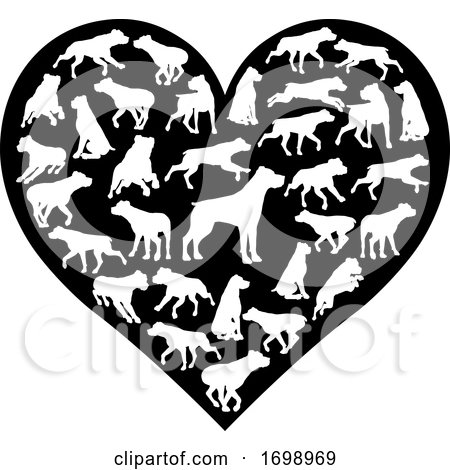 Rottweiler Dog Heart Silhouette Concept by AtStockIllustration