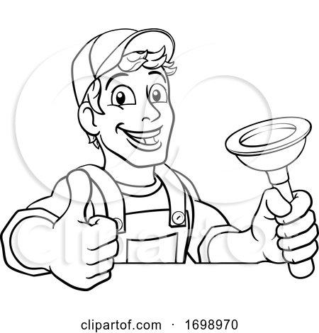 Plumber Cartoon Plumbing Drain Plunger Handyman Posters, Art Prints