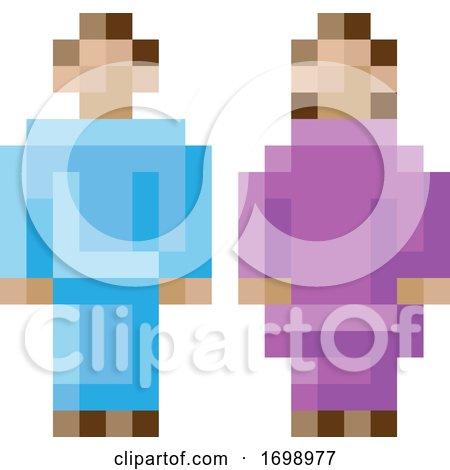 Woman Man Male Female Icon Pixel 8 Bit Game Art by AtStockIllustration