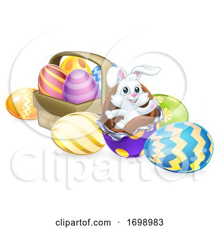 Easter Bunny Rabbit Breaking out of Chocolate Eggs by AtStockIllustration