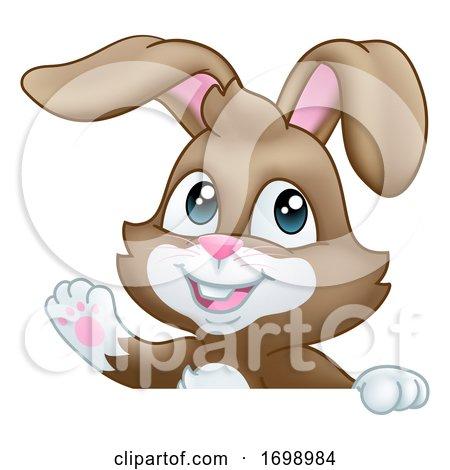 Easter Bunny Rabbit Cartoon Sign by AtStockIllustration