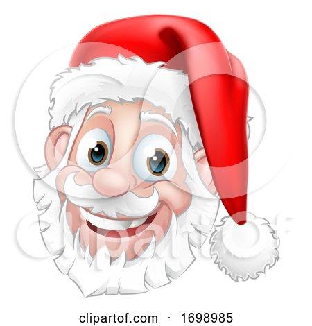 Santa Claus Face Christmas Cartoon Character by AtStockIllustration