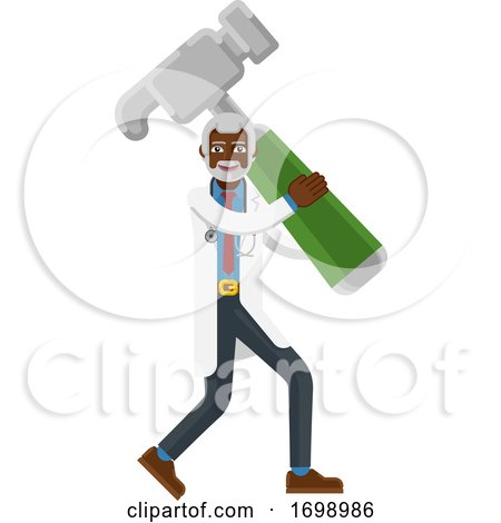 Mature Black Doctor Man Holding Hammer Mascot by AtStockIllustration