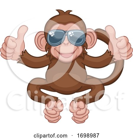 Monkey Sunglasses Cartoon Animal Giving Thumbs up by AtStockIllustration