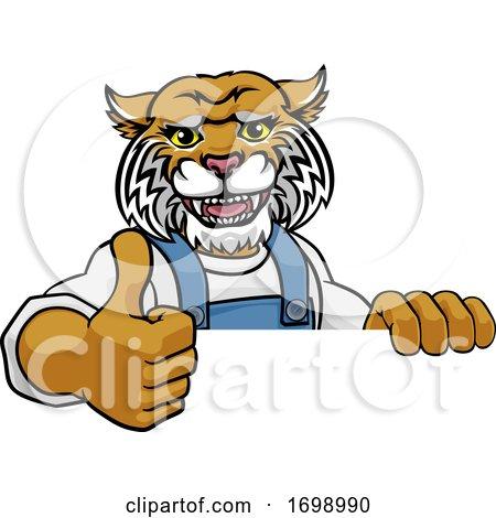 Wildcat Mascot Plumber Mechanic Handyman Worker Posters, Art Prints