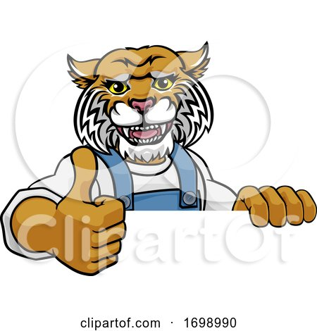 Wildcat Mascot Plumber Mechanic Handyman Worker by AtStockIllustration
