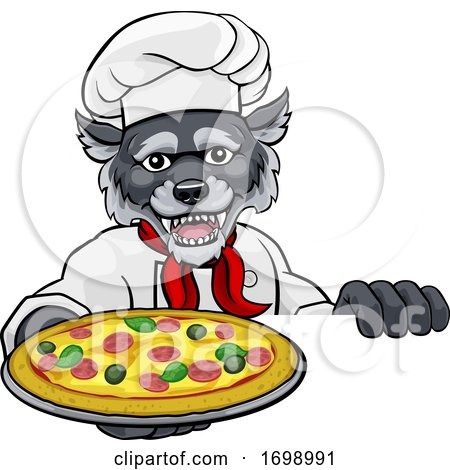Wolf Pizza Chef Cartoon Restaurant Mascot Sign by AtStockIllustration