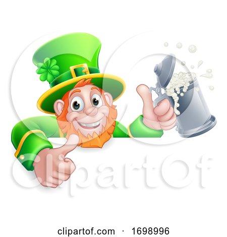 Leprechaun St Patricks Day Cartoon Drink Sign by AtStockIllustration