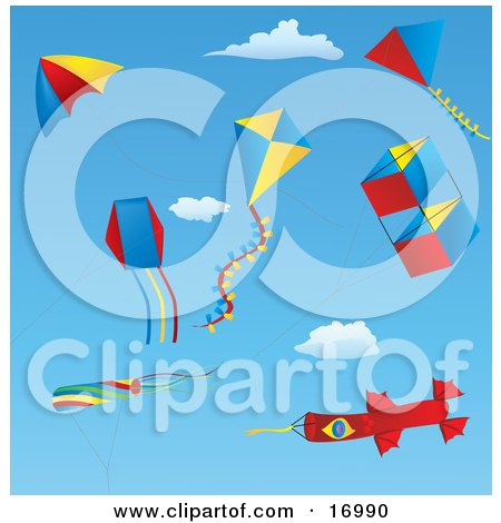 Group Of Different Kites Including Box, Diamond, Triangle, Windsocks And One Kite Resembling A Rocket, Flying In The Sky  Posters, Art Prints