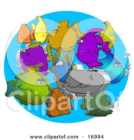 Diverse Group Of Different Colored 3d Fish Schooling Together With Bubbles Clipart Illustration by djart