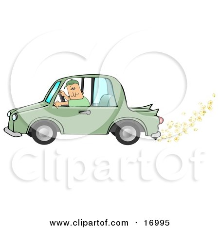 Caucasian Man Driving A Green Car With Popcorn Popping Out Of The Muffler, Symbolizing A Biodiesel Car  Posters, Art Prints