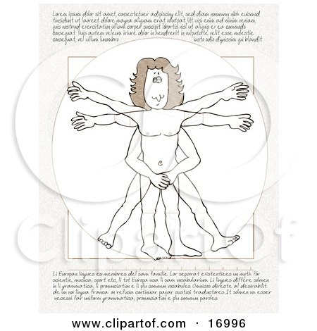"People Clipart Picture of a Parody Of ""Vitruvian Man"" By Leonardo Da Vinci, Showing A Shy, Embarassed Nude Man Covering His Private Parts With His Hands, With Text On The Top And Bottom by Dennis Cox"