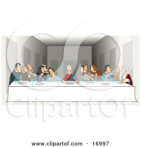 "People Clipart Picture of a Parody Of ""The Last Supper"" By Leonardo Da Vinci Showing Jesus And His Twelve Apostles At A Long Dinner Table With Plates And Glasses In Front Of Them During The Lord's Supper by Dennis Cox"