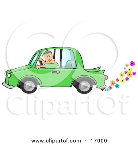 Caucasian Driving A Green Environmentally Friendly Car With Colorful Flowers Flowing Out Of The Muffler  Posters, Art Prints