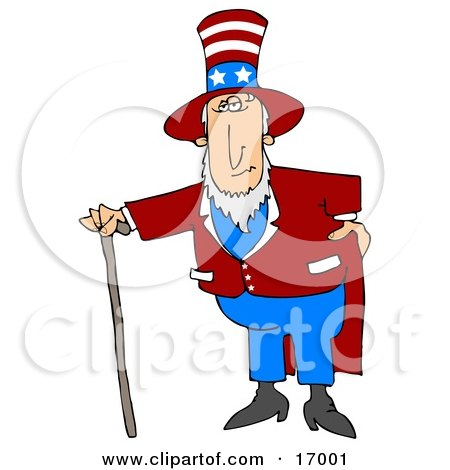 Uncle Sam In A Red And White Striped Hat With Stars, Red Jacket And Blue Pants, Standing With A Walking Cane And Holding One Hand On His Hip Clipart Illustration Image by Dennis Cox