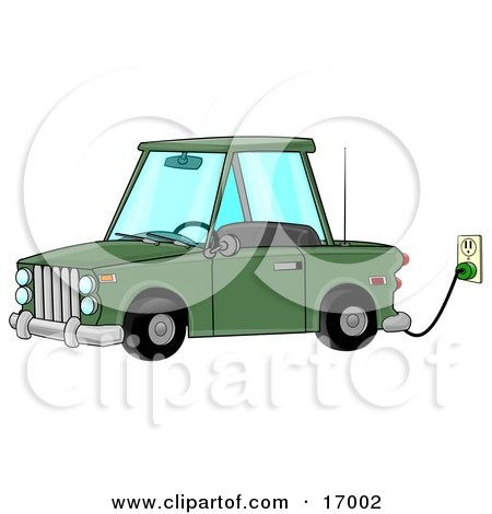 Environmentally Friendly Green Electric Car Parked In A Garage And Plugged Into An Electrical Socket While Charging  Posters, Art Prints