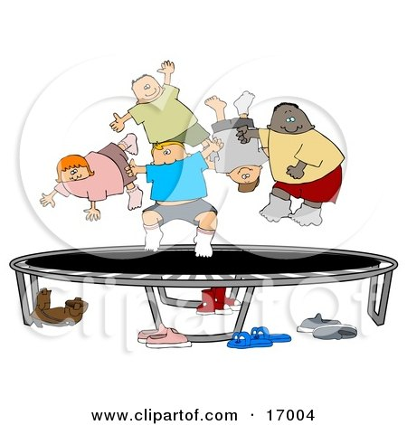 Happy Multi-Ethnic And Multi-Gender Children Jumping On A Trampoline Together While Playing  Posters, Art Prints