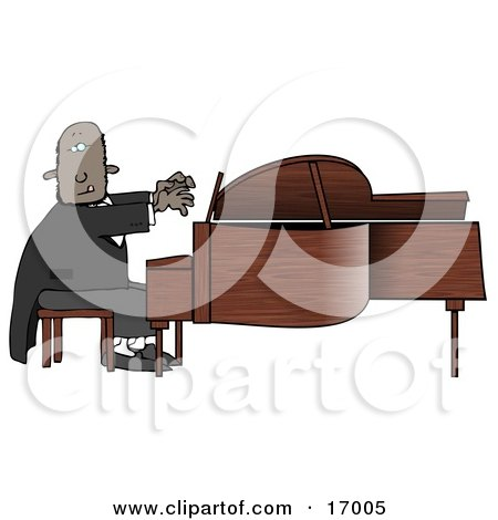 Black African American Pianist Sitting On A Bench And Playing A Grand Piano During A Concert Clipart Illustration Image by djart
