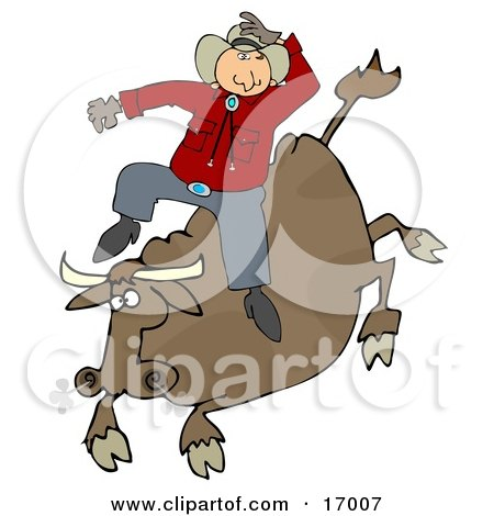 Male Caucasian Cowboy Holding Onto His Hat While Riding A Bucking Bronco Bull During A Rodeo  Posters, Art Prints