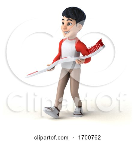 3d Asian Boy, on a White Background by Julos