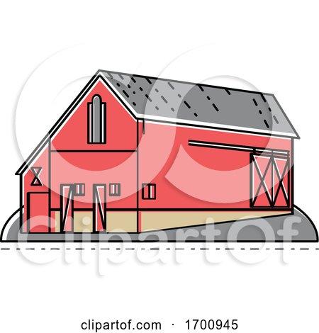 Red Farmhouse Barn Mono Line by patrimonio