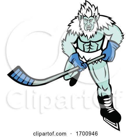 Abominable Snowman Ice Hockey Player Mascot Posters, Art Prints