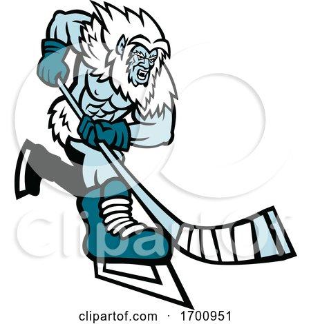 Yeti Ice Hockey Player Mascot by patrimonio