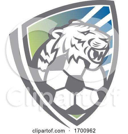 Tiger Head Soccer Ball Shield Posters, Art Prints