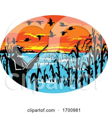 Duck V Formation Hunter Flooded Cornfield by patrimonio