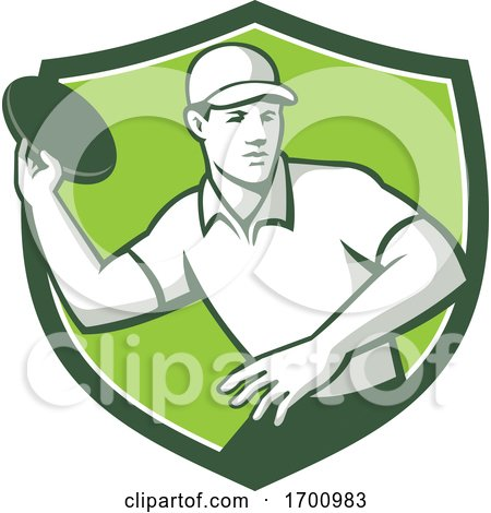 Disc Golf Player Throwing Front Mascot Crest by patrimonio