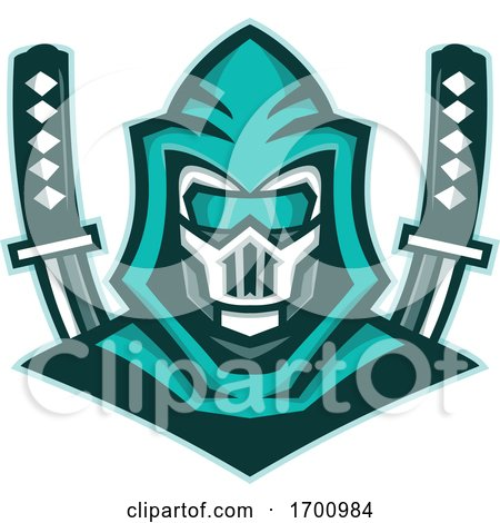 Cyborg Ninja Samurai Sword Mascot by patrimonio