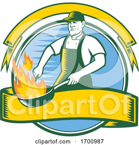 Chef-flaming-pan-cooking-CIRC Posters, Art Prints
