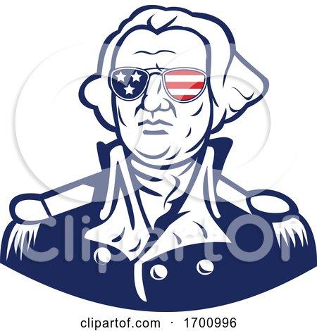 Washington Wearing Sunglasses USA Flag Mascot by patrimonio