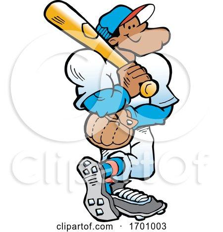 Cartoon Confident Black Male Baseball Player Holding a Bat by Johnny Sajem
