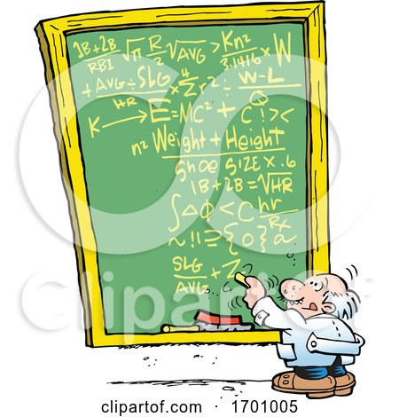 Cartoon Professor Doing a Complex Calculation on a Chalkboard by Johnny Sajem