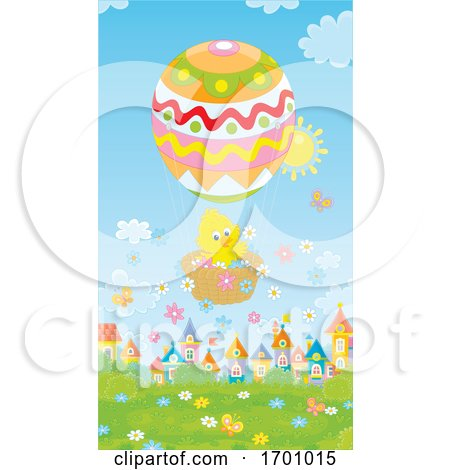 Easter Spring Chick in a Hot Air Balloon Posters, Art Prints