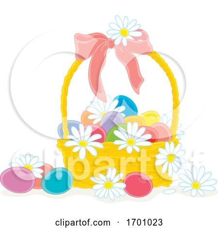 Easter Basket with Eggs and Daisies by Alex Bannykh