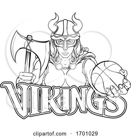 Viking Female Gladiator Basketball Warrior Woman by AtStockIllustration
